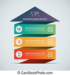Business growth concept banner with 3 options - Up arrow...