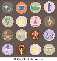 Flat baby icons collection - Colorful flat web icon set....
