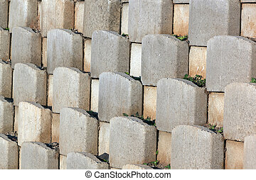 Cement Blocks Forming Pattern on Retaining Wall - Close up...