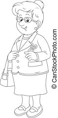 Smiling old lady - Black and white vector illustration of a...