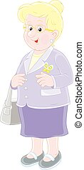 Smiling elderly lady - Vector illustration of a white-headed...