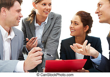 Consultation - Photo of business partners discussing plan or...
