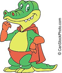 Crocodile in the raincoat - Illustration of a smiling...