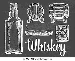 Whiskey glass with ice cubes, barrel, bottle, cigar.