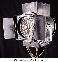 vintage theater spot light on black background