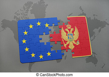 puzzle with the national flag of montenegro and european union on a world map background.