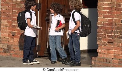 Young Boys Students At School