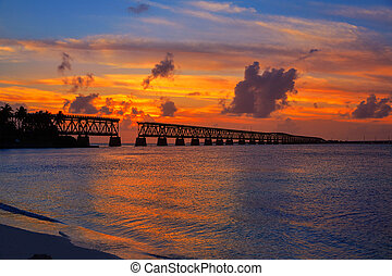 Florida Keys old bridge sunset at Bahia Honda Park in USA