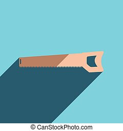 Flat icons with shadow of handsaw Vector illustration