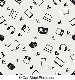Vector illustration computer on the background seamless pattern