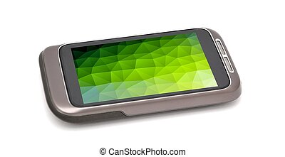 Smartphone with green screen - Modern smartphone on white...