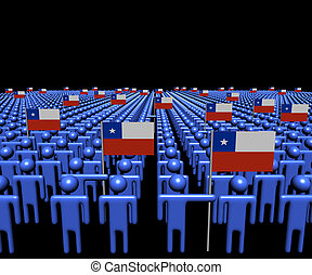 Crowd of abstract people with many Chilean flags...