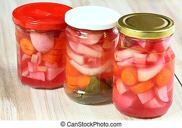 fermentado, rábano, tres, encurtidos, zanahoria, anteojos