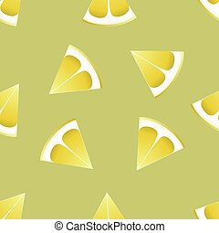 The pattern of lemons on a green background.