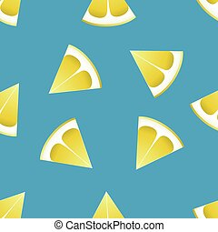 The pattern of lemons on a blue background.