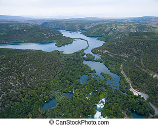 aerial view of Krka waterfalls, Croatia