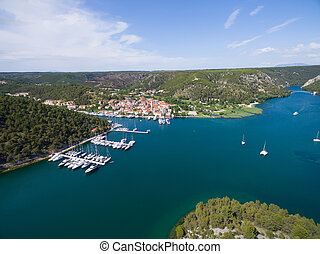 Aerial view of old town Skradin at the Krka river, Croatia -...