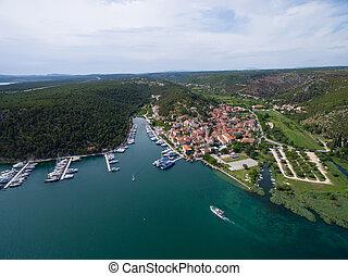 Aerial view of old town Skradin at the Krka river, Croatia -...
