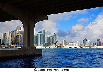 Miami downtown skyline under bridge Florida - Miami downtown...