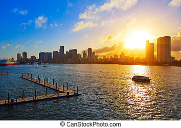 Miami downtown skyline sunset Florida US - Miami downtown...