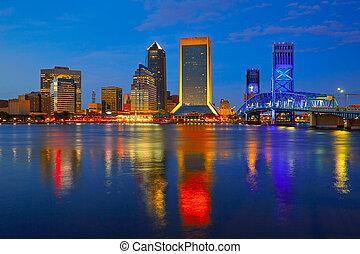 Jacksonville skyline sunset river in Florida - Jacksonville...