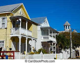 Key west street facades Florida US