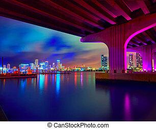 Miami downtown skyline sunset Florida US - Miami downtown...
