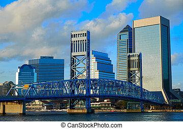 Jacksonville skyline evening in florida USA - Jacksonville...