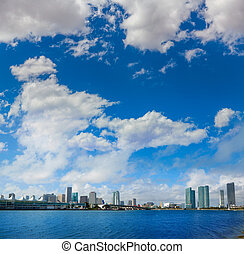 Miami downtown sunny skyline in Florida USA - Miami downtown...
