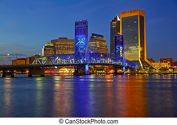Jacksonville skyline sunset river in Florida - Jacksonville...