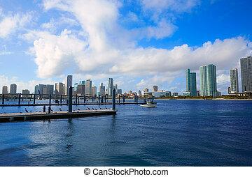 Miami downtown sunny skyline in Florida USA - Miami downtown...