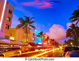 Miami South Beach sunset Ocean Drive Florida - Miami Beach...