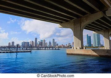 Miami downtown skyline under bridge Florida - Miami downtown...