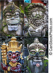 traditional balinese statue on bali, indonesia