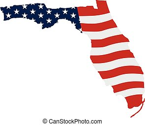Florida patriotic map. Vector graphic design illustration