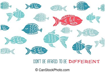 Don't afraid be different greeting card with fish