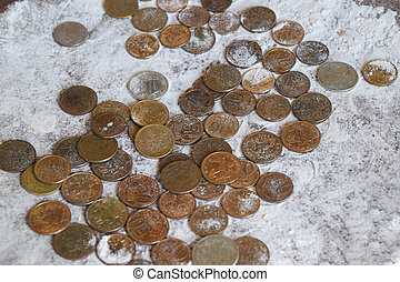 Coins in the flour in the balance Rubles and kopecks The...
