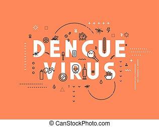 Design concept virus of dengue Modern line style...