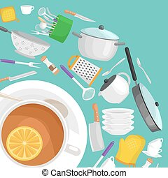 Kitchenware utensils set, Vector illustration of isolated kitchen utensil. Background with utensil, cook equipment, domestic tools for home. Kitchen tool collection