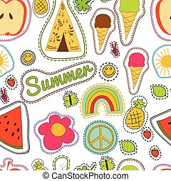 happy embroidery colorful summer patches pattern. Vector seamless  with pineapple, watermelon, ice cream, lemon, butterfly, wigwam, clower, strawberry, sun, smile, rainbow, pacific