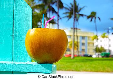 Miami South Beach 2 straws coconut Florida - Miami South...