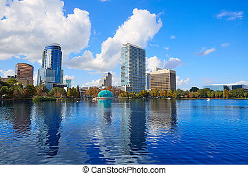 Orlando skyline fom lake Eola Florida US - Orlando skyline...