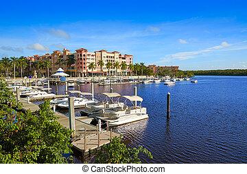 Naples Bay marina in florida USA