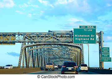 Horace Wilkinson Bridge in Mississippi river at Baton Rouge...