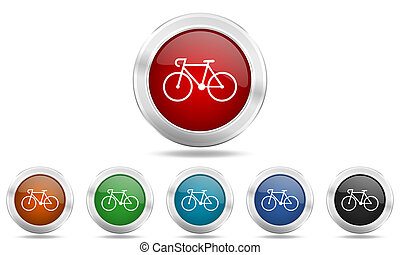 bicycle round glossy icon set, colored circle metallic...