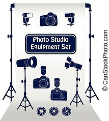 Photo studio set - Photo studio equipment cartoon set Vector...