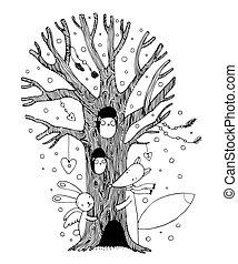 Beautiful magic tree, fox, hare angel and owl. Hand drawing...