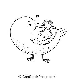 Cute cartoon baby and big bird. Hand drawing isolated...