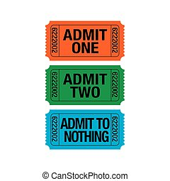 Three whimsical tickets with various meanings
