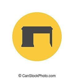 Desk writing desk silhouette on the yellow background Vector...